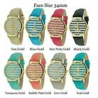 Ladies Round Anchor Style With Stripes Genuine Leather Watch 34mm New
