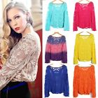 Pretty Semi Sheer Women Sleeve Embroidery Floral Lace Crochet T-Shirt Top Blouse