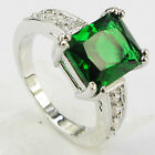Size 6,7,8,9 Jewelry Woman's Emerald 10KT White Gold Filled Ring