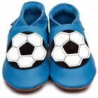 Inch Blue Boys Baby Luxury Leather Soft Sole Pram Shoes - Football Shoe Blue