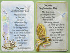 On Your Confirmation Day Prayer Verse Card Boy / Girl Gold Etched Religious Gift
