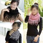 Girls Warm Infinity 2 Circle Cable Knit Cowl Neck Long Tassel Scarf Shawl New