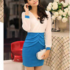 New Fashion Lady's Sexy Chiffon Long Sleeve Mini Party Dress V Neck Skirt Blue E