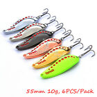 6pcs Lot Metal Casting Spoons Bass Salmon Fishing Lures Spinnerbaits - 4 Sizes