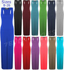 NEW WOMENS PLUS SIZE MUSCLE RACER BACK MAXI LONG JERSEY VEST DRESS TOP 8-26