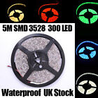 5M 300 LED Strip Light 3528/5050 SMD/RGB Ribbon Tape Roll IP65 12V UK Adapter