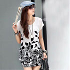 Fashion Women's  Lady Girl Flower Ice Silk Casual Sleeve Loose T-Shirt Blouse