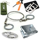 Survival Kit Whistle Knife Card Wire Saw Flint Stone Carabiner Sleeping Blanket