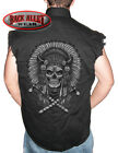 INDIAN HEADDRESS SKULL Sleeveless Denim Shirt Biker Cut Cherokee Outlaw Native