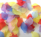 100 'Lucite' style leaf, leaves, pendants beads 17mm mixed (L2) beading