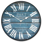 Large wall Pier 7 Blue Clock,12- 48 Whisper Quiet, Non-Ticking