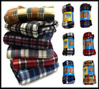 New Checked Design Warm Fleece Sofa Bed Car Chair Travel Picnic Throw Blanket UK