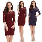 Ever Pretty Womens 3/4 Sleeve Lace Blue Short Cocktail Winter Party Dress 03792