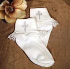 Girls Christening Baptism Nylon Ruffle Socks w/ Cross 0-3M, 6-12M, 18-24M USA