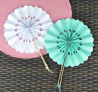 80 NEW Rosette Paper Hand Fans Wedding Favors Color Choice Q11867