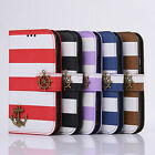 Luxury Flip Stand PU Leather Stripe Wallet Anchor Case Cover for Various Phone