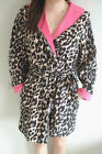 Soft Sexy Short Luxurious Leopard Print Bathrobe Robe Dressing Gown Pajama