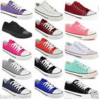 LADIES WOMENS FLAT GIRLS PLIMSOLLS PUMPS TRAINER LACE UP CORAL CANVAS SHOES SIZE