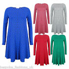 H6A New Ladies Womens Polka Dot Print Long Sleeve Swing Dress Top Plus Size 8-26