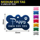 Bone Pet ID Tag Dog Puppy Name Tags Personalised Laser Engraved Etched Aluminium
