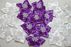 satin flower & pearl bows 20pcs wedding stationary scrapbook embellishment trim