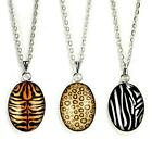 WILD ANIMAL PRINT NECKLACE Jewelry Chain Pendant Pattern Stripes Spotted Safari