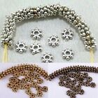New150pcs Antique Silver/Gold/Bronze/Copper Alloy Flower Shaped Spacer Beads 4mm