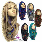 FEATHER WITH POMPOMS Print Pattern Maxi Big Large Scarf Wrap Shawl Hijab Sarong