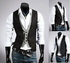UK Style Black mens slim fit double layered design casual waistcoat vest M-XXXL