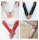 2pcs Bride Dress Fingerless Pearl Wedding Party Lace Satin Bridal Gloves Costume