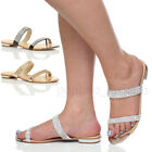 WOMENS LADIES STRAPPY TOE POST DIAMANTE TOE CAP EVENING PARTY SANDALS SIZE