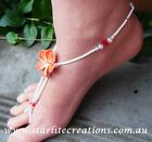 Beach bridal Barefoot Sandals RED Diamante Frangipani foot jewellery handcrafted