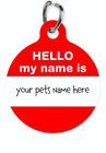 Pet ID Name Tag HELLO MY NAME IS Personalised Custom DOG CAT Name Tag