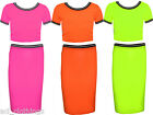 New Girls Neon Brigth Colors Fashion Crop Top & Stylish Pencil Skirt 7-13 Years