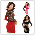 Elegant Women Ladies Lace Long Sleeve Neck Bodycon Cocktail Jersey Office Dress