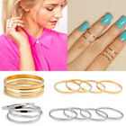 5pcs/Set Fashion Gold&Silver Stackable Plain Knuckle Band Above Midi Finger Ring