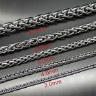 """3/4/5/6/8MM 16""""-36"""" Silver Tone Stainless Steel Wheat Braided Chain Necklace"""