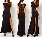 Sexy Women Lace Bodycon Evening Cocktail Formal Cut Out Split Evening Maxi Dress