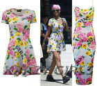 New Womens Style Floral Party Ladies Bodycon Skater Dress Top Size 8 10 12 14
