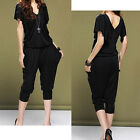 "Chiffon Romper Casual Loose Women""s Elastic Long Harem Pants Jumpsuit [JG]"