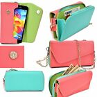 Colorful Stylish Leather Clutch Flip Wallet card Holder Smartphone Body Straps