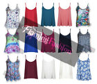 New Womens Ladies Sleeveless Plain Flared Cami Strappy Swing Vest Top Size 8-26