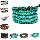 Howlite Turquoise Agate Tiger Eye Stone Beaded Wraps Bracelet Mens Jewelry QCL