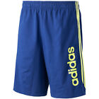 ADIDAS ESSENTIALS SHORTS BLUE/YELLOW with POCKETS ADULT SML TO XL BNWT