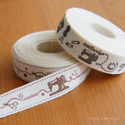 2 yards: Printed Cotton Ribbon 15mm Sewing Theme 2 styles Craft
