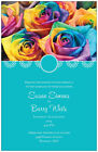 50 100 RAINBOW Roses Floral WEDDING Personalized Invitations 5 Colors Custom
