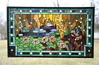 "35"" x 21"" Stained glass window panel Waterlily Lotus Flower Pond"