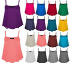 new plus size ladies sleeveless plain swing vest womens flared cami strappy top