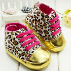 kids Baby Girl Newborn Soft Sole Shoes Toddler Leopard Print Crib Sneaker 3-18 M