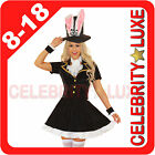 New Ladies Fairy Tale Alice in Wonderland Mad Hatter Fancy Dress Costume Bunny